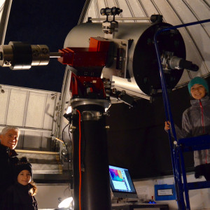 Eric Magennis '89 brought his daughters Reese and Sloane to the Mendel Observatory for Observe th...