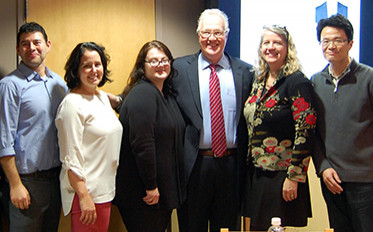 "<p class=""p1"">President Christopher Hopey, third from right, poses with newly tenured faculty, from left, Jimmy Franco, Brittnie Aiello, Sally Shockro, Susan Marine and Sirkwoo Jin.</p>"