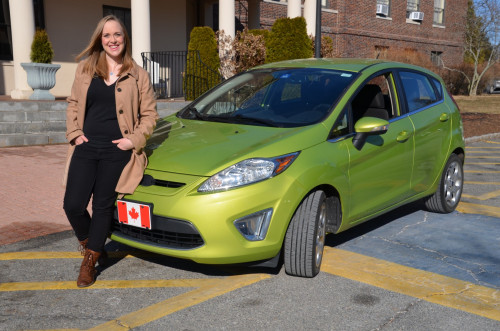 Brittany Vine drove her lime-colored Ford Fiesta 4,500-kilometers from Calgary, Canada to North A...