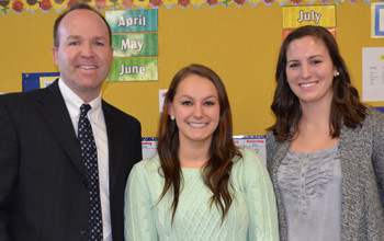 Atkinson Elementary School Principal Greg Landry (left) and first grade teacher Stephanie Boudrea...