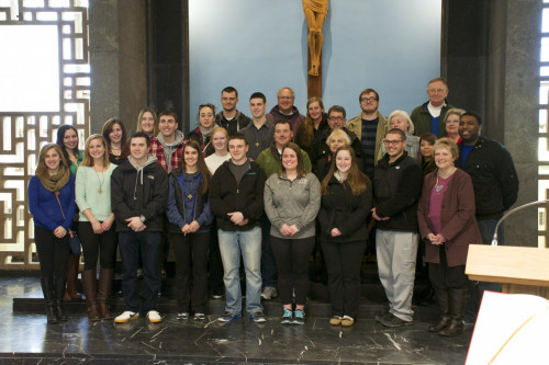 The Pellegrinaggio group, which includes 19 students, at Our Mother of Good Counsel Chapel in Aus...