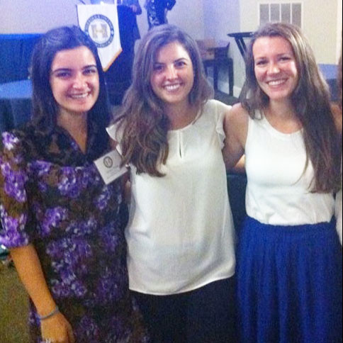 Jesica Chaya, '16, Lauren McCarthy, '16, and Marisa Auger, '16, (left to right) make up part of t...