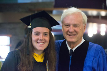 Undergraduate student speaker Chloe Rothman and Commencement speaker Chris Matthews.