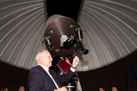 Adjunct professor Ralph Pass runs the observatory which houses an Optical Guidance Systems 20-inc...