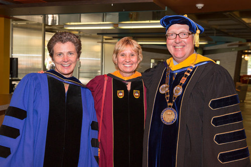 Reverend Kate Braestrup with Provost Dr. Carol Glod and President Christopher E. Hopey, Ph.d.