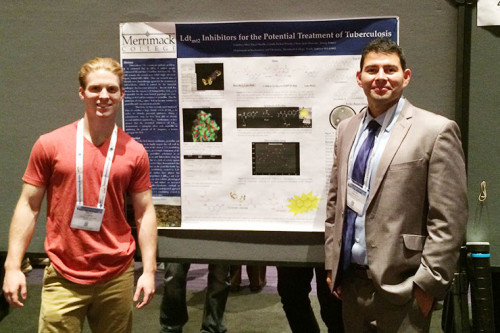 Merrimack student Brian Ayotte '16 (left) and assistant professor Jimmy Franco were among th...