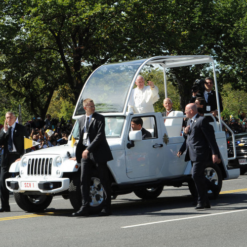 Pope Francis drove through the streets of Washington, D.C. in his open-air so-called popemobile u...