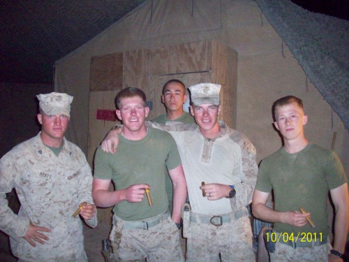 Paul Coppola, second from right, with fellow marines in Afghanistan.