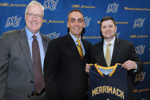 Merrimack College President Christopher E. Hopey, Ph.D. (left) and Athletic Director Jeremy Gibso...