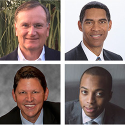 Clockwise from top left: Bruce A. Bouchard '79, Alvin M. Chapital III '86, Kevin R. Rhodes '91 an...