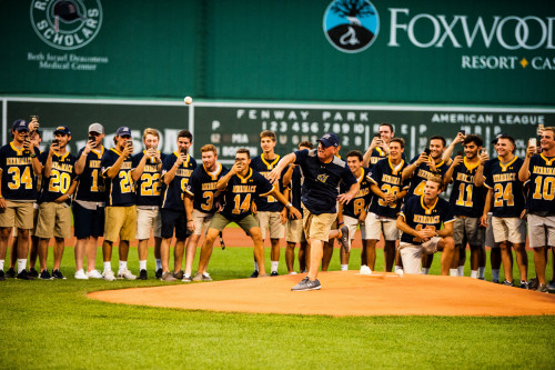 August 28, 2018, Boston, MA:Merrimack Lacrosse team throws the Ceremonial First Pitch at Fenway P...