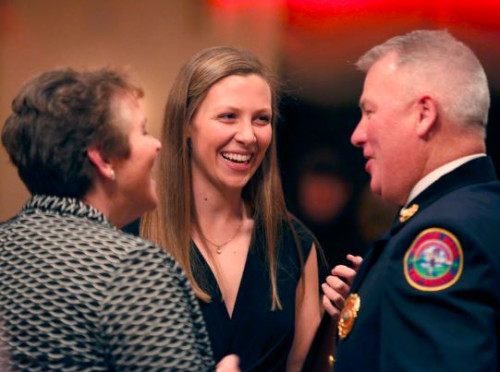 Health science major Mary Lavallee '20 attends the Andover Fire Department's annual award...