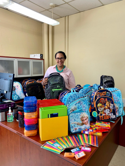 Merrimack College's Hands to Help is collecting school supplies for the children of nearby Lawren...