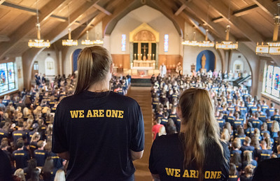 Merrimack students, faculty and staff took part in Mass and Academic Convocation to start the sch...