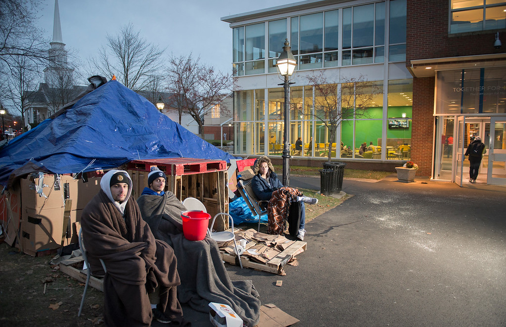 Members of TKE set up a shelter to raise money for the homeless.