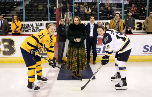 Merrimack's women's ice hockey team recently traveled to Belfast, Ireland to take part in the Fri...