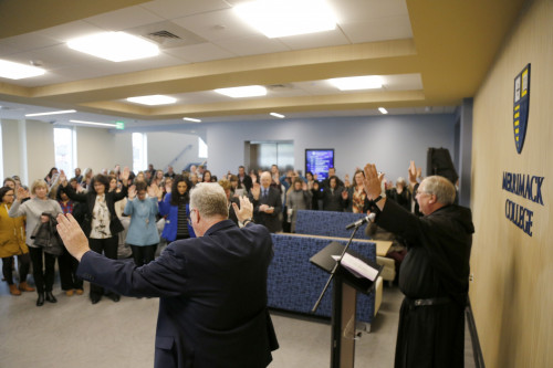 The Rev. Ray Dlugos, O.S.A., led the Merrimack community Jan. 16 in a blessing of the new Nursing...