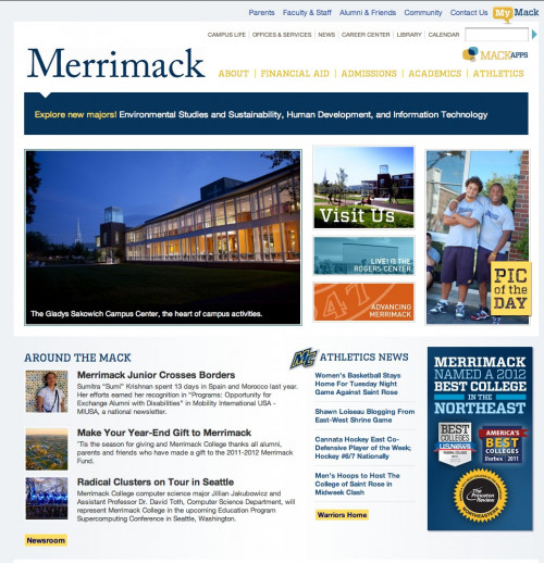 The Merrimack home page, January 2012.