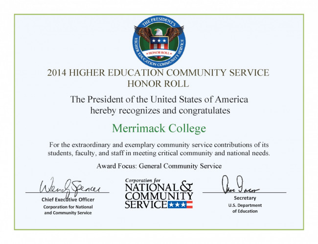 White House Honors College For Community Service Merrimack