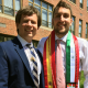 Christopher Hynes '17, right, with campus minister Jeffrey Wallace.