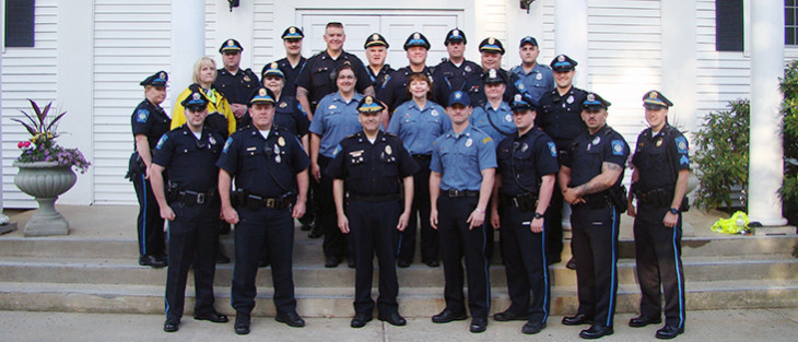 group shot of merrimack police department staff