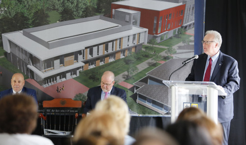 Merrimack held a ceremonial groundbreaking for its new Nursing Center May 1, 2019.