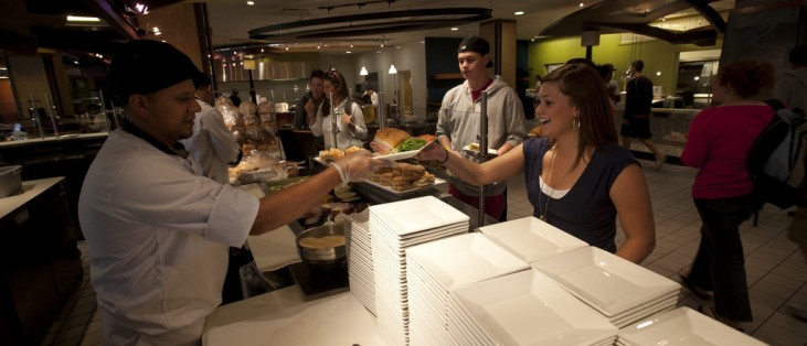 The resident dining hall, Sparky's Place, offers a variety of nutritious meals for students and faculty.