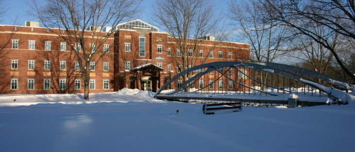 Mendel Center and the Moseley Wrought Iron Arch Bridge.