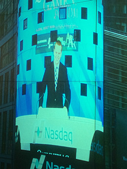 Times Square showcases Matthew Chirokas '15 at the Nasdaq closing bell ceremony
