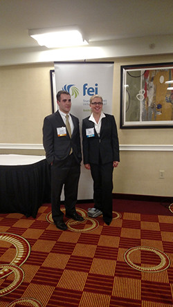 Patrick Frazier '16 and Professor Mary Papazian at the FEI Boston Scholarship Dinner