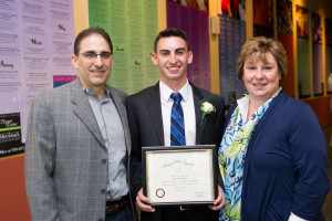 Anthony DeAngelo and his parents at the SIE Induction Ceremony
