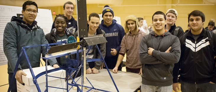 Students in the iTEC program participate in a wind turbine competition.