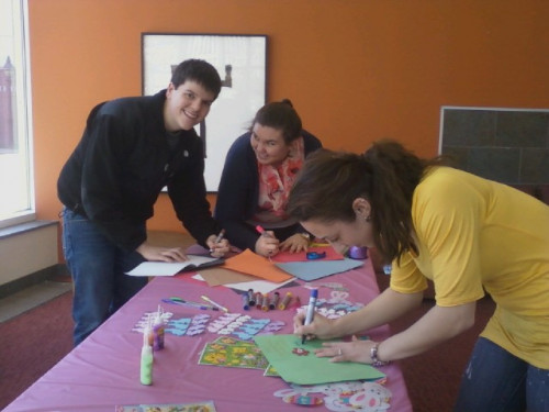 Merrimack students stopped by to write easter cards for patients at the Northeast Rehabilitation Hospital.