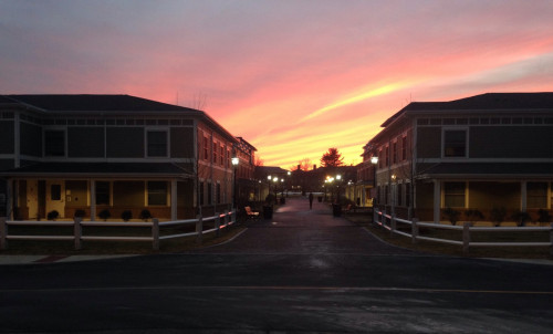 Sunset over the new residence village  Photo courtesy of Brandon Clinton