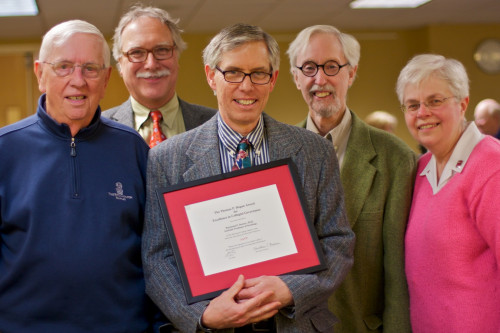 Award for efforts in shared governance. Dorney is seen here with previous recipients.