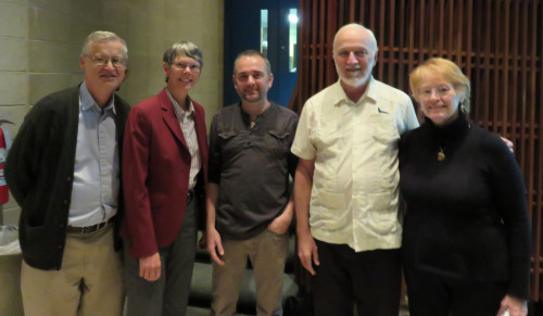 From left) Professor Arthur Ledoux (Philosophy), Dean Kathleen Tiemann, Professor Luis Saenz de Viguera Erkiaga (Social Justice/World Languages and Cultural Studies), Father Joe Mulligan, SJ, and Susan Letendre (Witness for Peace, New England)